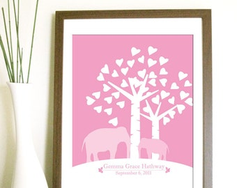 Modern Birth Announcement, Elephant and Baby under a Tree - 8.5X11 Inches, Other sizes available