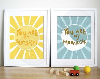 Modern Nursery Art Print- Sunshine and Moonlight - 8X10 Inches, other sizes