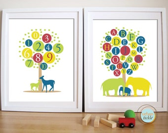 ABC and 123 Tree, Baby Nursery Decor, Custom Print - ABC and 123 Trees, 8.5X11 Set