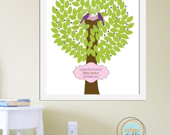 Guestbook for Baby Shower- Trees and Birds waiting - 12X16, Guest Book for Nursery, Baby Gift