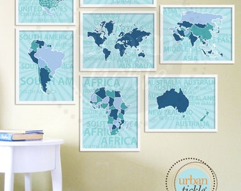 World Map Art for Kids, The World Continents, Set of Seven, 12X18 Inches, Birthday Gift, Baby Gift, Nursery Decor