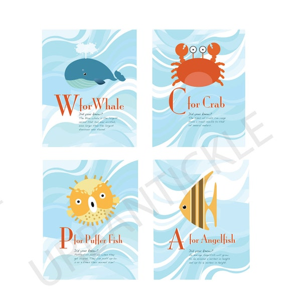 Set of 4 prints -Educational Art for Child's room or Nursery - Deep Blue Sea Creatures - 8X10