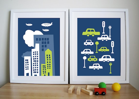 Boys Room Art Print- City Living - Set of 2 - 11X14 Inches, other sizes