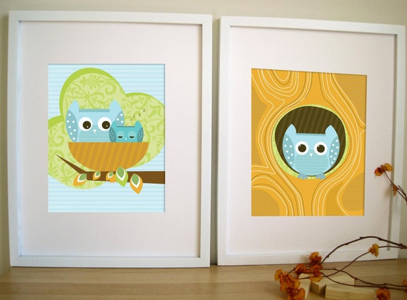 Art for Children, OWL Art , Set of 2,  Owl in Hollow and Nest, 11X14, Other Sizes