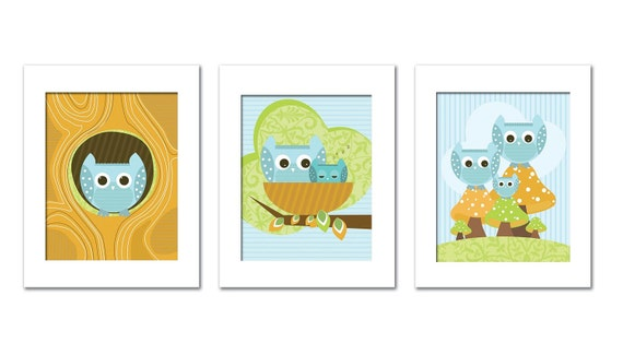 Artwork for Children, OWL Art , Set of 3,  OWL Family and baby, 11X14, Other Sizes