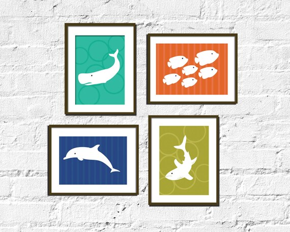 Modern Art for Child's room or Nursery - Set of Four-  5X7  -Sea Dwelling
