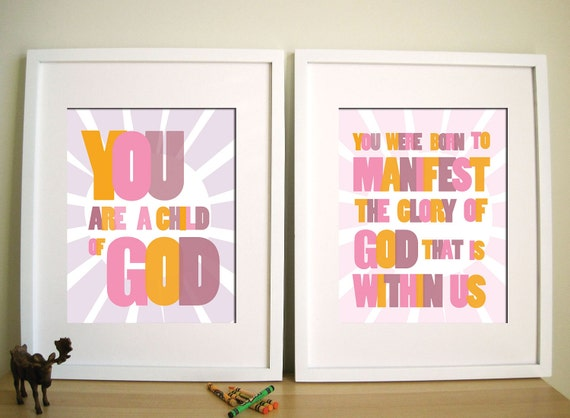 Modern Nursery Art print - Child of God 11X14, Set of 2, Other sizes available