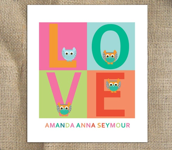 Modern Nursery Print- Love and Owl - 11X14, Other sizes