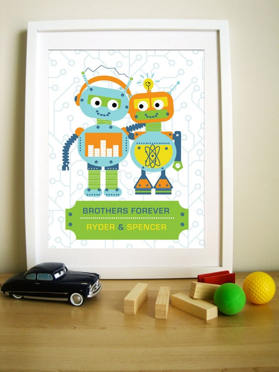 Modern Robot Artwork for Children, Brothers Forever, 11X14, Other Sizes
