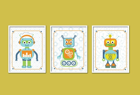 Robot Artwork Print for kids, Set of 3,  Robots Trio, 11X14, Custom Sizes and Colors, Nursery prints