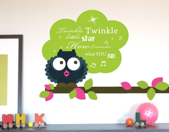 Custom Listing-Owl Decal for Nursery, Twinkle Twinkle Whistling Owl (No clouds)