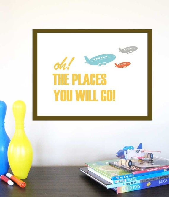Personalized Print  for Nursery -Places You Will Go -11X14 Inches