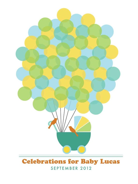 PRINTABLE Guestbook Baby Shower Poster - Signature Balloons - 16X20