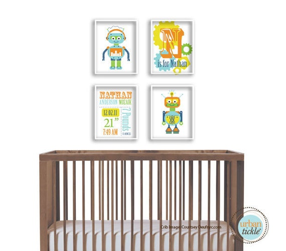 Robot Artwork Birth Announcement Print set, Set of 4,  Robot Details, 5X7 Inches, Nursery Decor, Playroom Artwork, Newborn gift