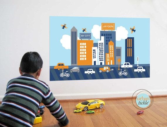 Boys Room Wall Stickers, City Life Billboard, 30X36 Inches, Nursery Decor, Baby Room, Play room ideas