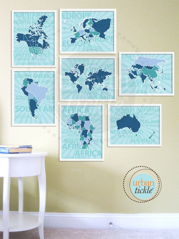 World Map Art for Kids, The World Continents, Set of Seven, 8.5X11 Inches, Birthday Gift, Baby Gift, Nursery Decor