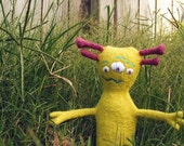 Moe, Stuffed Alien Toy - natural wool and cotton, hand embroidered
