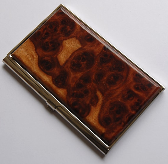 Handcrafted 2 Tone AMBOYNA BURL Wood Business Card Case ID/Card Holder