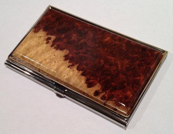 Handcrafted 2 Tone AMBOYNA BURL Wood Business Card Case ID/Card Holder
