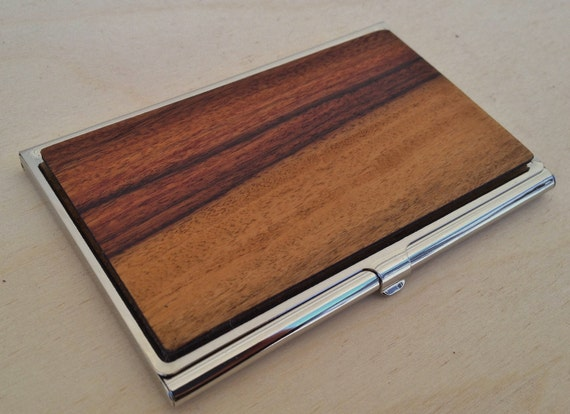 Wood Business Card Case or ID Holder - Inlaid Wood is Santos Rosewood (BRAZILIAN Rosewood) - FREE Engraving