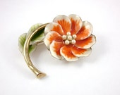 flower brooch, enamel, flower, gold tone