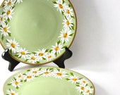 green daisy plates, set of two, china