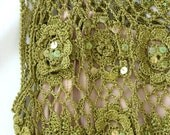Green Vintage Crocheted Sequined Slip Dress