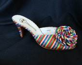 Multi-Colored Satin Party Shoes, Size 9 N