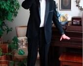 Dashing 1930s Mens Black Tuxedo, Size Medium