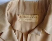 Katharine Hepburn Style 1940s Camel-Colored  Wool Gabardine I. Magnin Suit