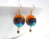 Handmade Gold-Plated Blue Orange Sunset Earrings 099