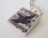 Rubber Stamped Tile Necklace Musical Score Bird Silhouette Porcelain Tile Pendant