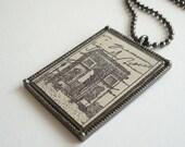 Paris Necklace Arc de Triomphe Rubber Stamped Leather Metal Bezel