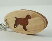 Spaniel Dog Key Chain Scroll Saw Wood Keychain Maple Cherry Hand Cut
