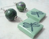 Rubber Stamped DragonflyTile Earrings Beaded Dangle