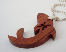 Pisces the Fish Necklace Zodiac Scroll Saw Wood Pendant Cocobolo Hand Cut