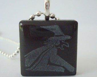 Witch Necklace Halloween Jewelry Recycled Ceramic Tile Pendant Rubber Stamped