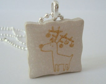 Rubber Stamped Reindeer Necklace Christmas Winter Recycled Ceramic Tile Pendant