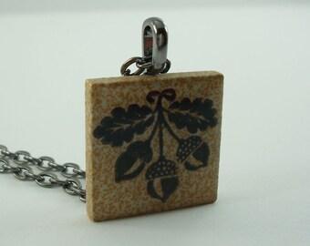 Acorn Oak Leaf Necklace Fall Fashion Porcelain Tile Pendant  Rubber Stamped