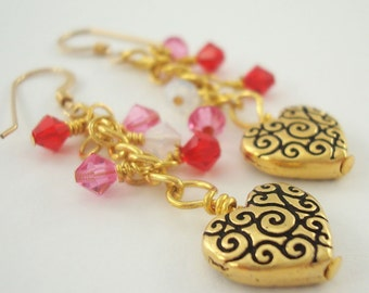 Heart Earrings Gold Scroll Beads with Swarovski Crystal Elements