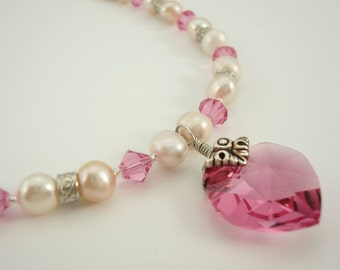 Heart Beaded Necklace Rose with Swarovski Crystal Elements Fresh Water Pearl
