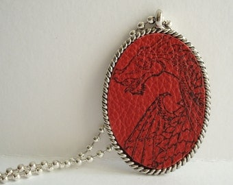 Red Dragon Necklace Rubber Stamped Leather Metal Bezel