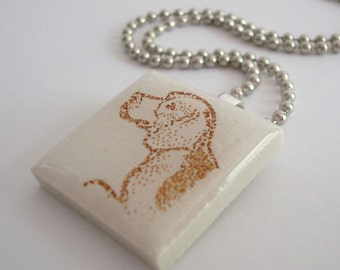 Beagle Dog Necklace Recycled Ceramic Tile Pendant  Rubber Stamped White Sepia