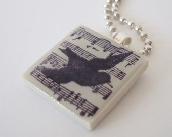 Rubber Stamped Tile Necklace Musical Score Bird Silhouette Porcelain Tile Pendant