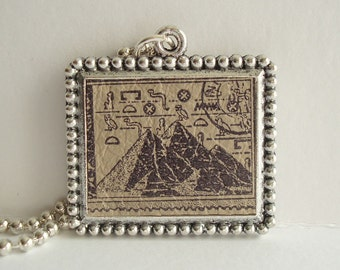 Egypt Pryamid Necklace Postage Stamp Rubber Stamped Leather Metal Bezel