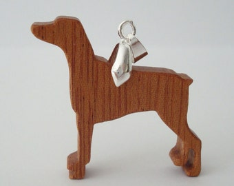Dobermann Dog Necklace Mahogany Hand Cut Pendant Scroll Saw
