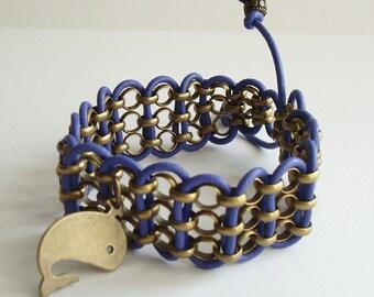 Whale Bracelet Violet Leather Bronze Chain Plus Size