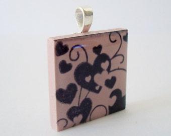 Pink Hearts Scroll Necklace Rubber Stamped Porcelain Tile Pendant
