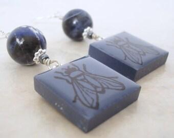 Fly Earrings Rubber Stamped  Porcelain Tile Navy Blue