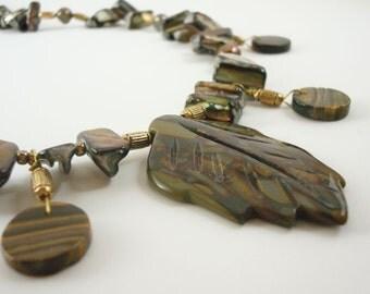 Leaf Necklace Golden Jasper  Tiger Eye Mother of Pearl